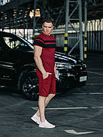 Комплект мужской летний Футболка + Шорты мужские Lines x burgundy / ТОП качества, фото 1