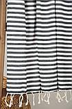 Полотенце-пештемаль пляжное Herringbone 100х180 черный Barine, фото 4