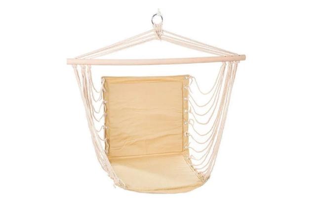 Гамак подвесной сидячий, до 100 кг, х/б, цвет бежевый, фото 2