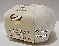 Пряжа для вязания хлопок/акрил BABY COTTON GAZZAL № 3410 - белый