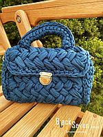 Модна жіноча сумка через плече плетені з тканини, фото 6