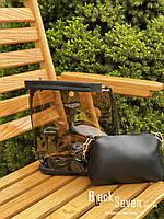 Модная женская сумка в сумке - прозрачная черная, фото 9