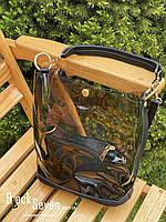 Модная женская сумка в сумке - прозрачная черная, фото 8