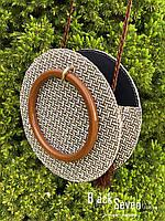 Модна жіноча сумка через плече - плетені кругла, фото 7