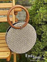 Модна жіноча сумка через плече - плетені кругла, фото 8