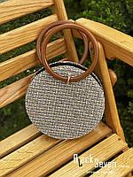 Модна жіноча сумка через плече - плетені кругла, фото 9