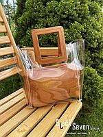 Модна жіноча сумка в сумці - прозора коричнева, фото 9