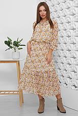 Платье летнее бежевое шифоновое макси с цветочным прином и длинным рукавом. Размеры 42-52, фото 2