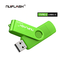 USB OTG флешка Nuiflash 64 Gb type-c - USB A Колір Зелений ВІДГ для телефону і комп'ютера