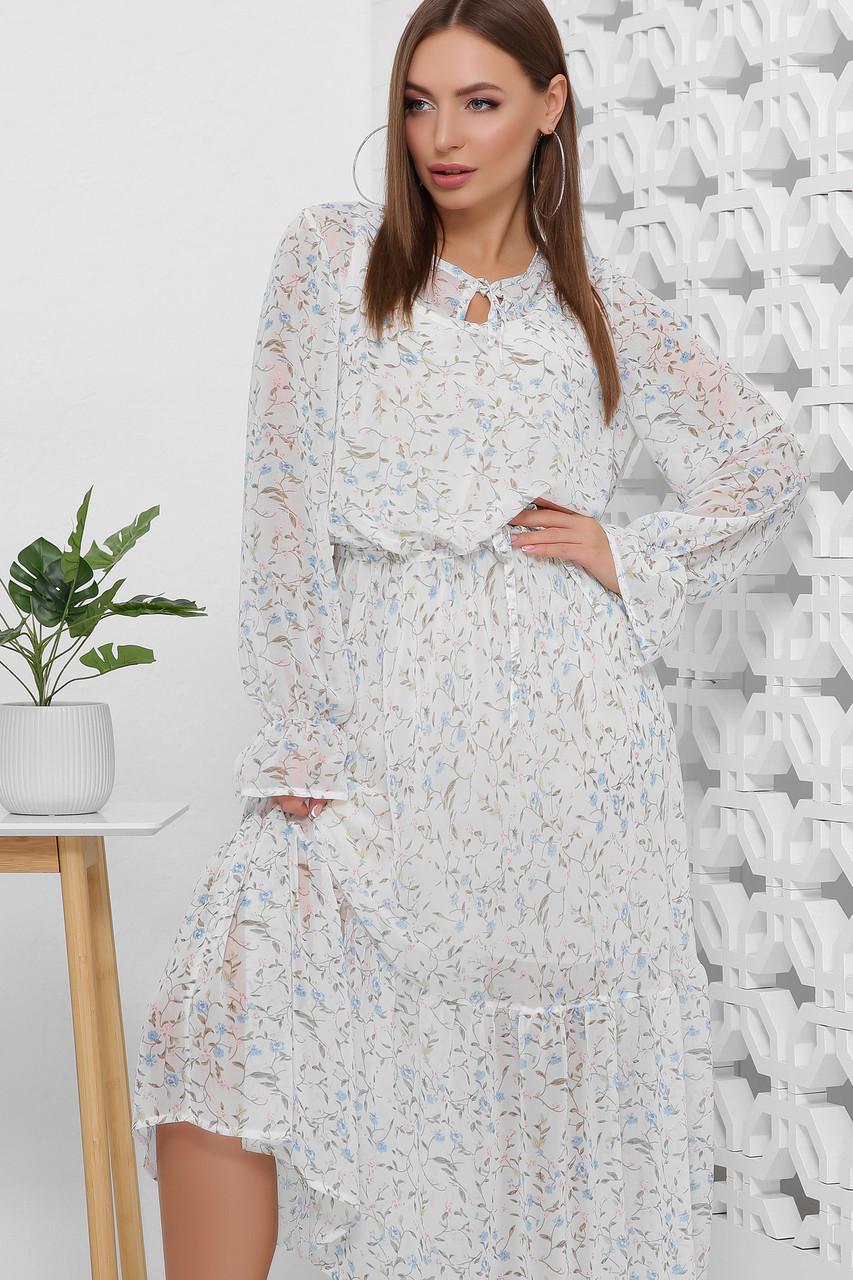 Платье летнее белое шифоновое макси с цветочным прином и длинным рукавом. Размеры 44-50