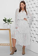 Платье летнее белое шифоновое макси с цветочным прином и длинным рукавом. Размеры 44-50, фото 2