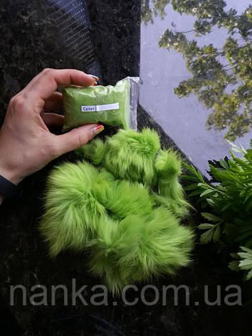 Обрезки - лоскут, кусочки натурального меха Кролик, Салат, 10 грамм, фото 2