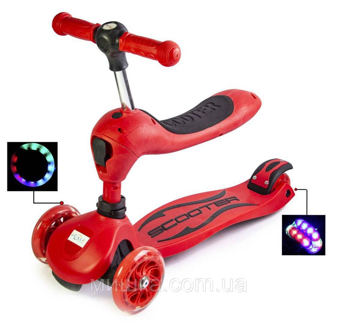 Самокат-беговел (трансформер), SCALE SPORTS, светящиеся колеса, красный