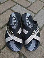 Мужские шлепанцы летние переплет черные оптом, фото 1
