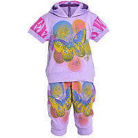Модный Летний котоновый костюм комплект для девочек 2,3,4,5 лет
