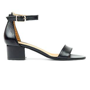 Босоножки женские кожаные 36-40 Woman's heel черные устойчивые на широком каблуке