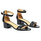 Босоножки женские кожаные 36-40 Woman's heel черные устойчивые на широком каблуке, фото 3