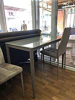 Стеклянный стол для обеденной зоны не раскладной T-300-11  белый кофе мокко молочный ( цена за один стол )
