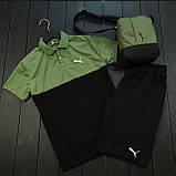 Мужской летний комплект Puma (шорты, тениска), шорты Puma, поло Puma (black/khaki), фото 2