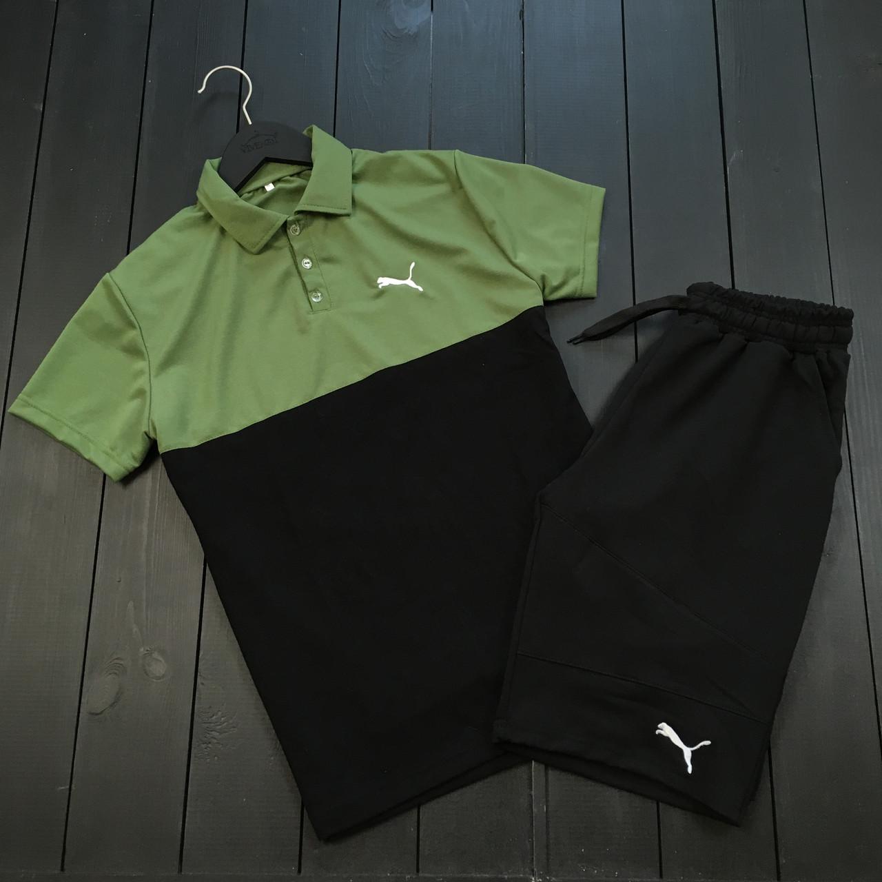 Мужской летний комплект Puma (шорты, тениска), шорты Puma, поло Puma (black/khaki)