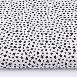 "Ткань бязь ""Густая насыпь из звёзд разных размеров"" чёрная на белом, коллекция Mini-mikro, № 2798а"