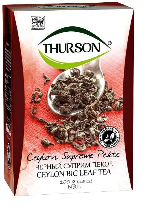 Чай черный Турсон Суприм Пеко крупнолистовой цейлонский 100 грамм