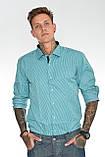 Мужская рубашка Gelix 1142-2 в клетку зеленая, фото 2