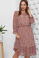 Платье летнее фиолетовое шифоновое миди с цветочным прином и длинным рукавом. Размеры 42-52