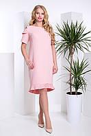 """Сукня жіноча батальна рожева з вирізами на плечах та плісерованими вставками """"Лакрис"""""""