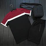 Чоловічий класичний річний комплект (шорти, футболка), чорні класичні шорти, бордова чоловіча футболка, фото 2