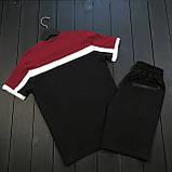 Чоловічий класичний річний комплект (шорти, футболка), чорні класичні шорти, бордова чоловіча футболка, фото 3