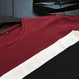 Чоловічий класичний річний комплект (шорти, футболка), чорні класичні шорти, бордова чоловіча футболка, фото 4