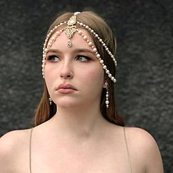 """Тика на голову """"Gold perls"""" + сережки, золотисто-кремового кольору."""