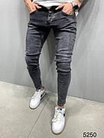 Мужские серые джинсы зауженные однотонные джинсы темно-серые мужские узкие классические