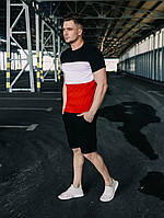 Летний костюм мужской Шорты Футболка Time x red-white-black | ТОП качества, фото 1