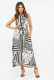 Длинное хлопковое платье в горошек, размер от 42 до 48