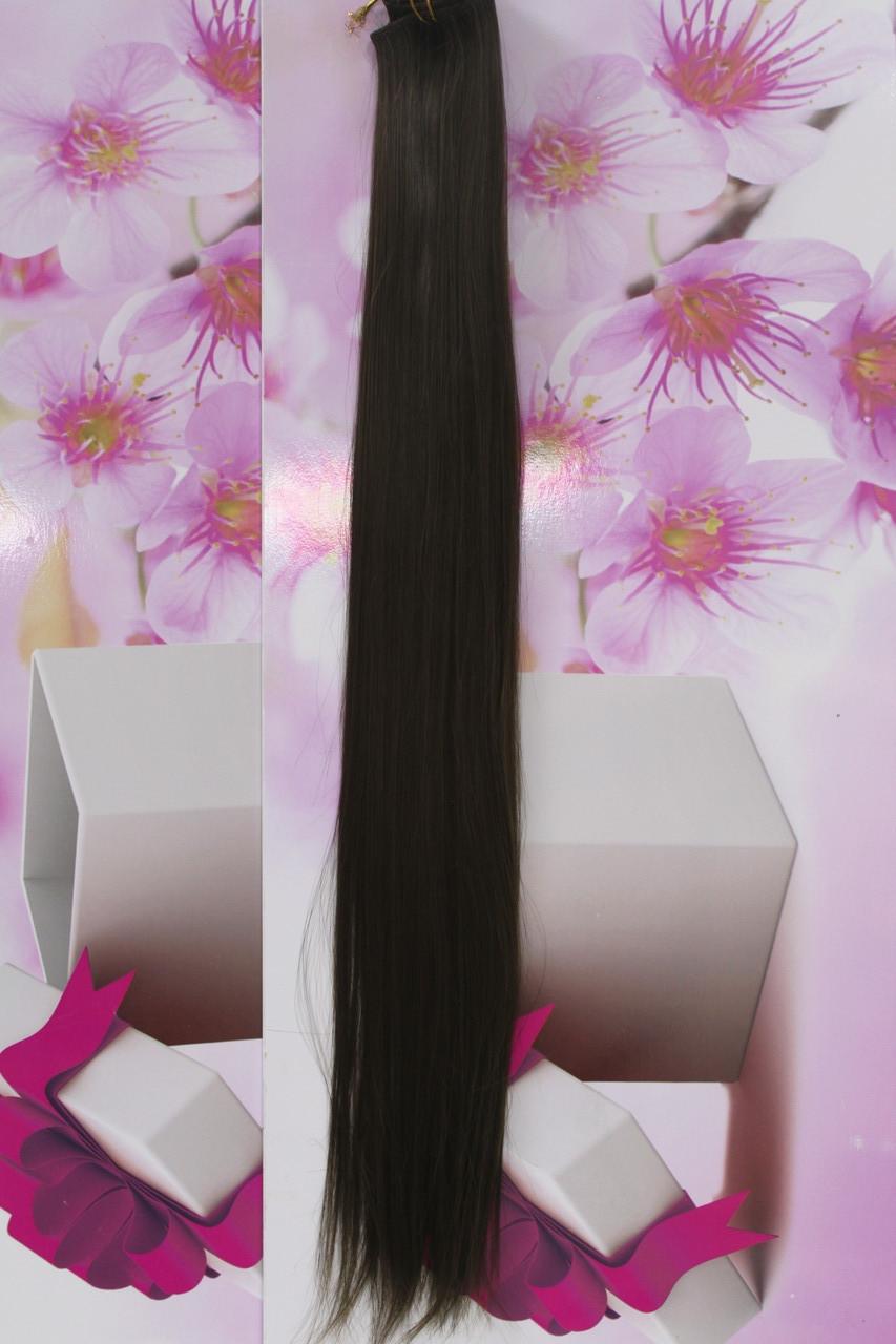 Волосы на заколках искусственные термоволокно прямые длинные темно русые