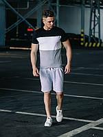 Летний костюм мужской Шорты Футболка Time x black-white-grey | ТОП качества, фото 1