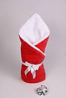 Теплый конверт-одеяло на выписку Lari Велюр махра. красный, фото 1
