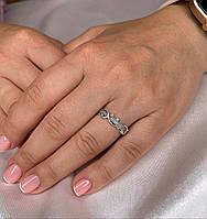 Кольцо женское *Диана* серебряное 925 пробы с чернением,вставка- фианиты.
