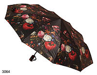 Зонт женский автомат черный с цветами, фото 1