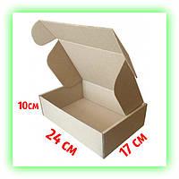Коробка самосборная подарочная крафт 240х170х100, картонная упаковка для подарков текстиля