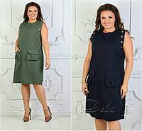 Р 42-56 Летнее льняное платье без рукавов Батал 21700-1, фото 1