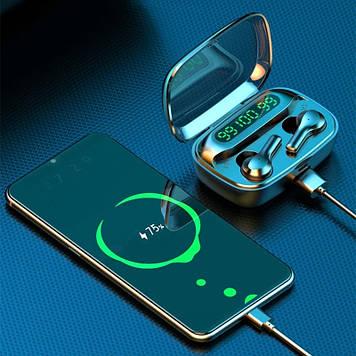 Беспроводные наушники TWS R3 с цифровым зарядным павербанком  Bluetooth 5.0 Черные Power Bank