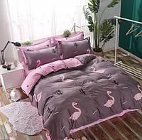 Качественное постельное белье, семейка - фламинго/кактус