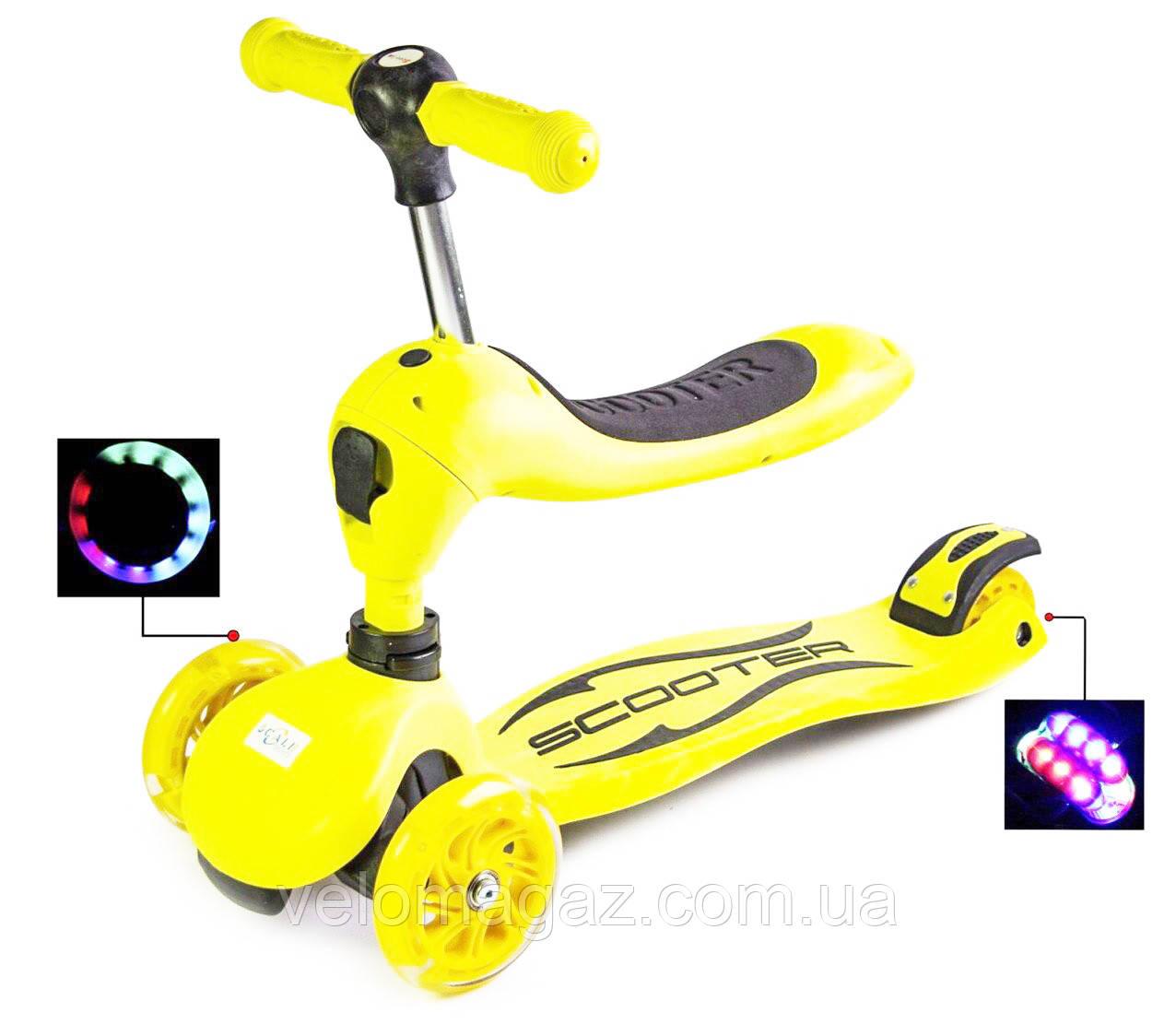Самокат-беговел (трансформер), SCALE SPORTS, светящиеся колеса, желтый