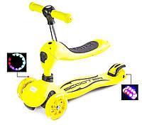 Самокат-беговел (трансформер), SCALE SPORTS, светящиеся колеса, желтый, фото 1