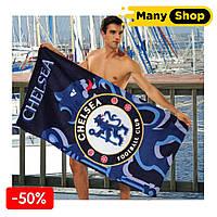 Пляжное полотенце ФК Челси (Chelsea), 75х150 см., верх - велюр, низ - махра, Хлопок 100%, ТМ Merzuka, Турция