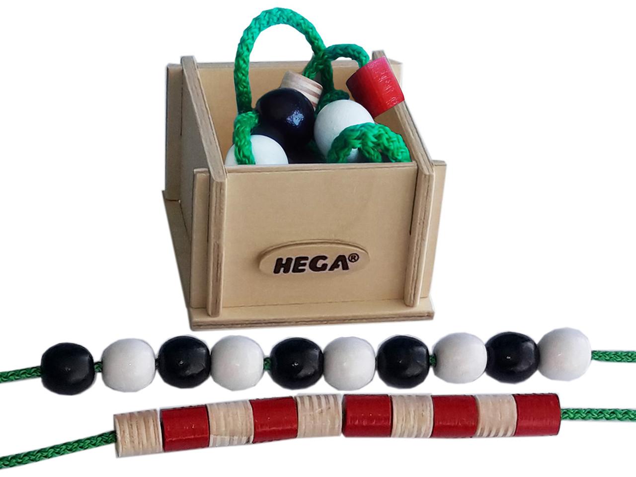 Шнурівка HEGA Буси в дерев'яній коробці. Набір для рахунку.