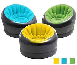 Надувное кресло Empire 112х109х69 см, 3 цвета | Кресло надувное с флокированным покрытием